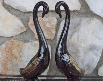 Vintage Mid Century Brown Drip Glaze Art Pottery Swan Figures by Price Imports