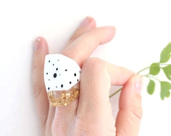 Spotty ring, monochrome ring, black and white, quirky ring, gold foil ring, funky ring, polka dot, resin ring, jewellery resin, girlfriend