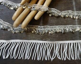 1,2m 1.3 yards delicate white vintage lace sequins beads fringe