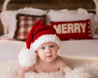 Crochet Baby Hat ,baby christmas hat,baby santa hat, baby boy santa, baby girl santa , Santa Christmas Infant Newborn Photo prop