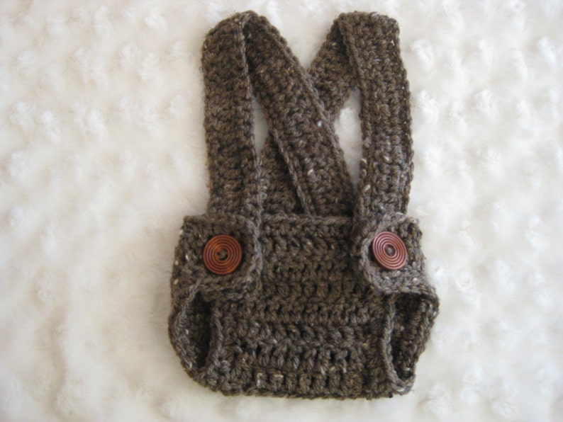 Crochet Diaper Cover with suspenders Gray  Boy Girl Infant