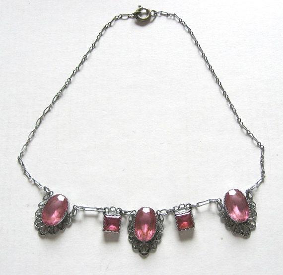 Art Deco Necklace Raspberry Pink Glass Filigree Si