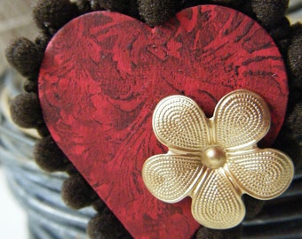 Heart Mixed Media Assemblage Hanging Ornament Gift Tag