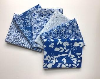 Blender fabrics SAPPHIRE BLUE /& YELLOW Fat Quarter Bundle 100/%cotton STARS SPOTS