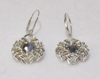 Elegant Chainmail Sterling Silver Earrings with Swarovski Crystals