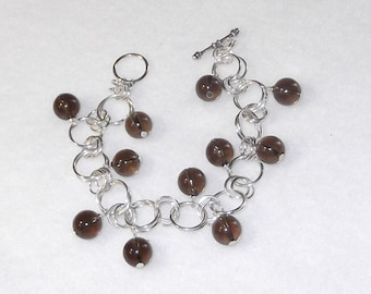Sterling Silver with Smoky Quartz Toggle Bracelet - B43