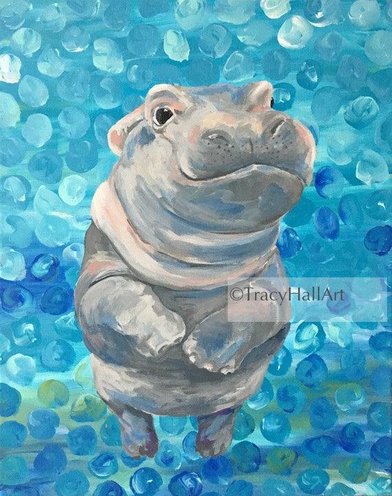 HIPPO hippopotamus bathroom 8x10  art PRINT  animals impressionism