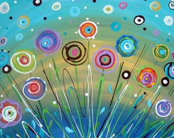 """Abstract Flower Painting Rainbow Aqua Teal Yellow Bright Colors Art Canvas Contemporary 16"""" x 20"""""""