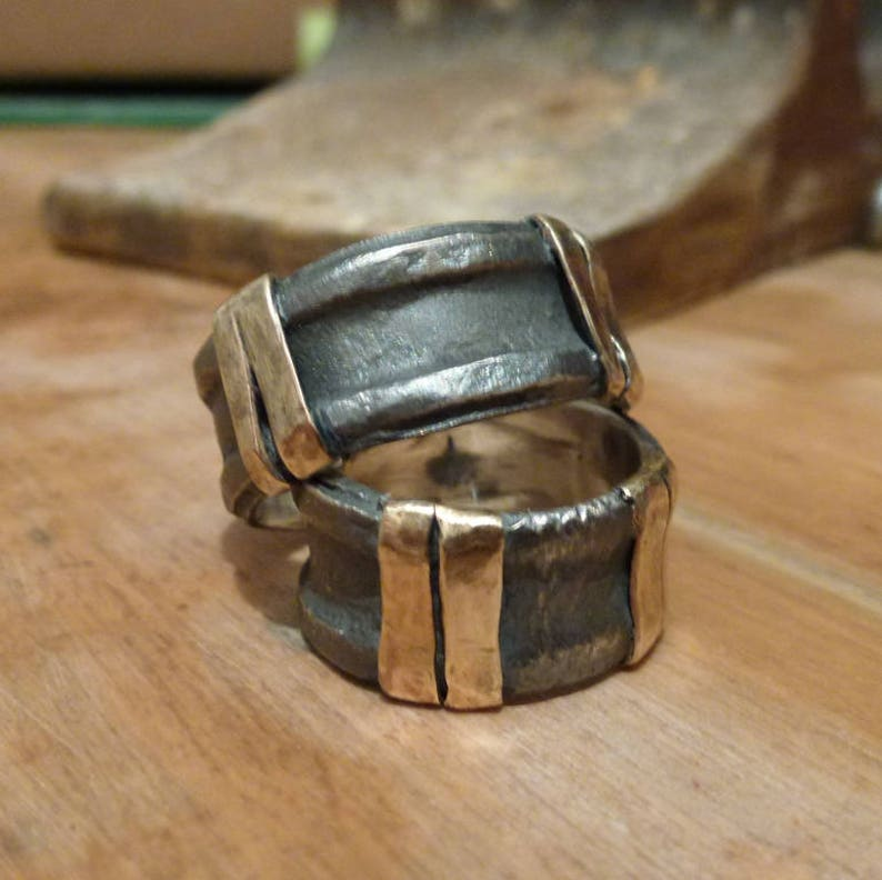 men women wedding ring Wedding bands Rustic set Oxidized bands Silver Wedding Ring Sterling Silver and 9K gold Double stripes Rings