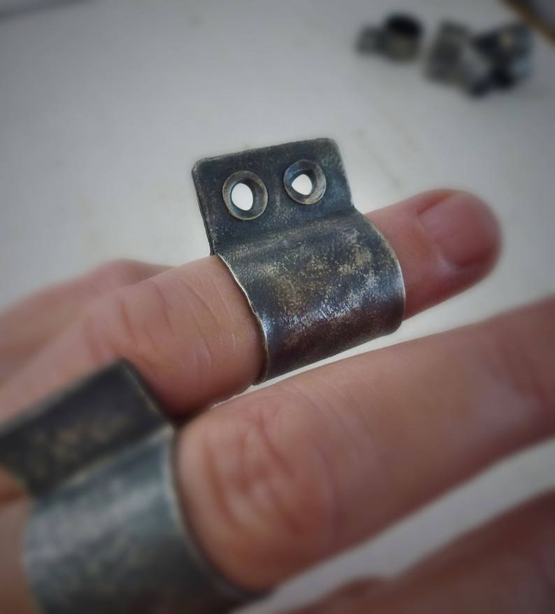 raw blackened silver cylindrical ring gift for him contemporary art Eyelet Ring knuckle ring