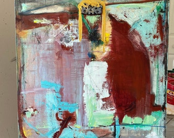 Turquoise, and burgundy, mixed media abstract, square painting, with texture, original art, contemporary style, on canvas, by Cheryl Wasilow