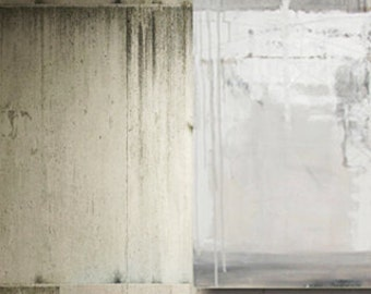White Painting Original Abstract Fine Art Modern Minimalist Urban Loft Gray  Textured Impasto 24 X 48 Contemporary Art Home Decor Wall Art
