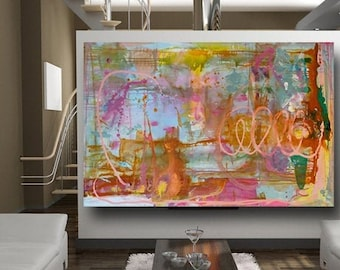 Colorful Abstract Painting, contemporary wall art, orange and blue, pink and yellow, luxury art, xl canvas art, huge art,  by Cheryl Wasilow