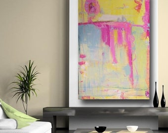 Original abstract painting pink yellow blue 60 x 40, contemporary xl wall art by Cheryl Wasilow