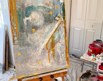 Art on canvas, original mixed media painting with objects, blue and metallic gold by Cheryl Wasilow