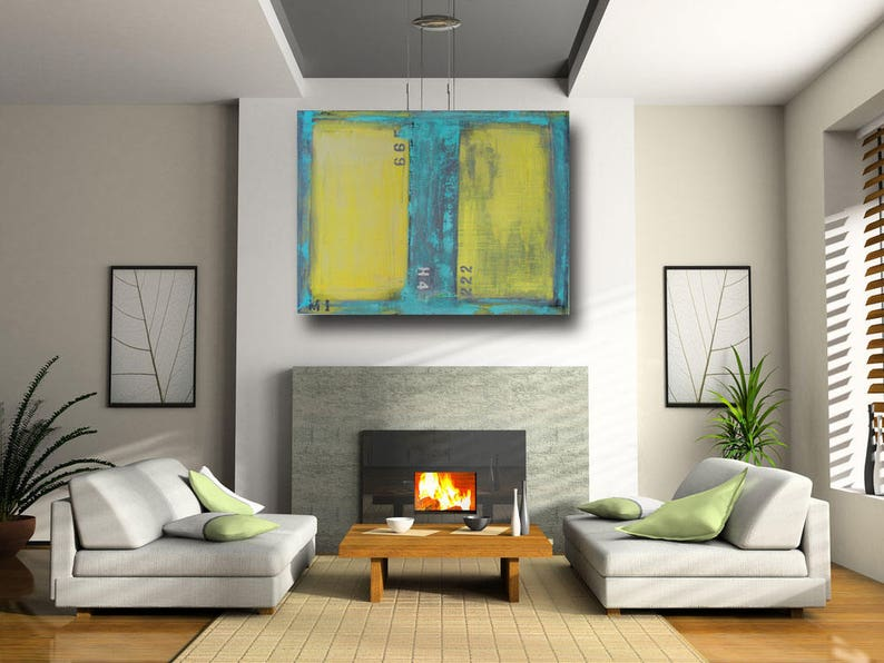 large painting yellow art contemporary art living room | etsy