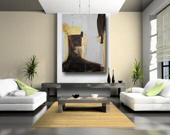 Modern Abstract Art, Brown and Gold Painting, Urban Fine Art, Minimalist Wall Decor, Loft Art, by Cheryl Wasilow