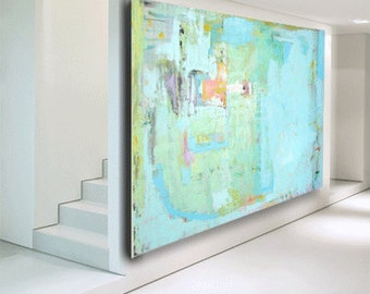 Original art large abstract painting, modern contemporary fine art blue painting huge painting on canvas, custom painting by Cheryl Wasilow