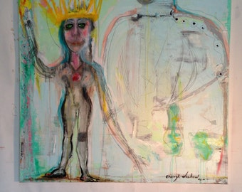 New abstract figurative painting in blue of a woman with a crown and torch in her hand, outsider art portrait by Cheryl Wasilow