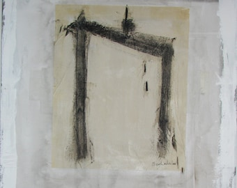 White abstract painting, large square minimalist asian art by Cheryl Wasilow