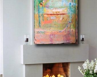 Impasto painting, original abstract, large wall art, green and blue art,  pink and orange artwork, mixed media, Cheryl Wasilow