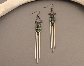 Ceremony sterling silver fringe earrings with turquoise