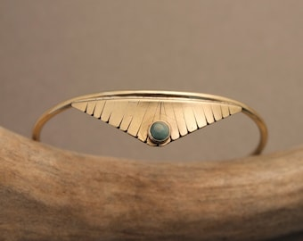 Indra simple feather blade stone cuff bracelet in brass or sterling silver with Amazonite or Grey Moonstone