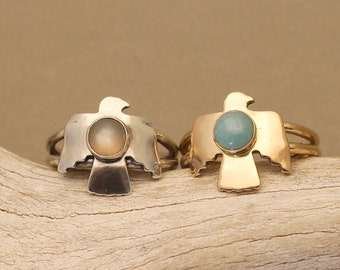 Aquila geometric eagle ring in gold or sterling silver with Peach Moonstone or Amazonite