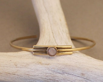 Modern simple cuff bracelet with peach Moonstone in silver or gold