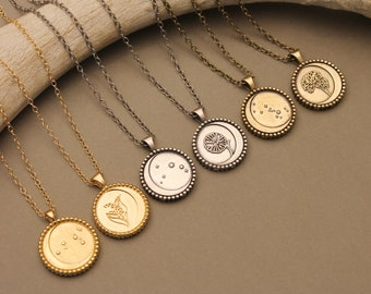 Zodiac reversible constellation + flower pendant in silver, gold and antique brass- Zodiac birthday gift- Medallion necklace