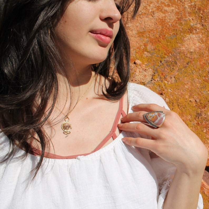 Winter in the Desert #13 Gold snake necklace with Dendritic Jasper