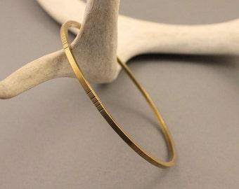 Solstice brass bangle bracelet- minimalist, modern hammered boho bangle bracelet