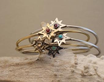 Zodiac star gemstone cuff bracelet in silver or gold