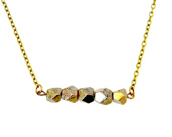 Geometric pyrite necklace- short with faceted pyrite