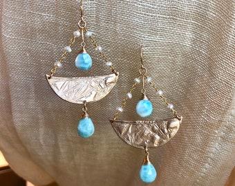 La Sirene earrings in bronze and larimar