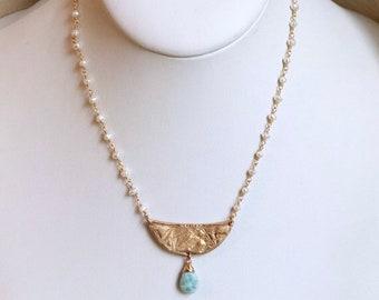 La Sirene Necklace in bronze and larimar