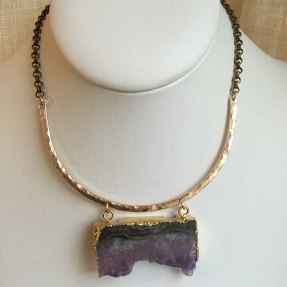 Arc Necklace in bronze and amethyst slice
