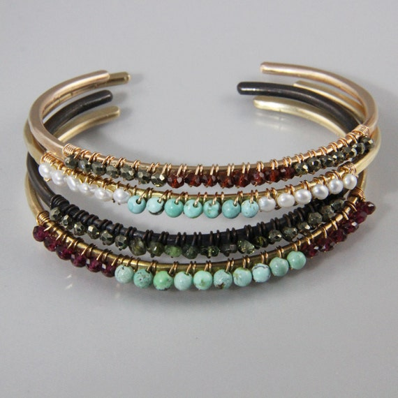 Bronze hammered cuff with two gemstones colors