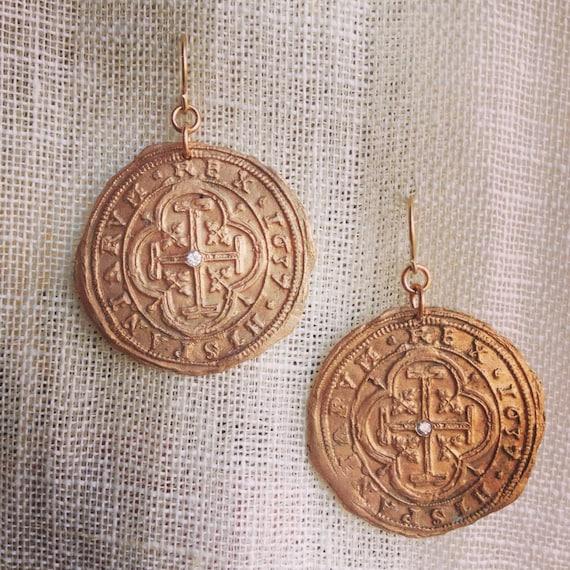 Spanish Coin Bronze Earrings