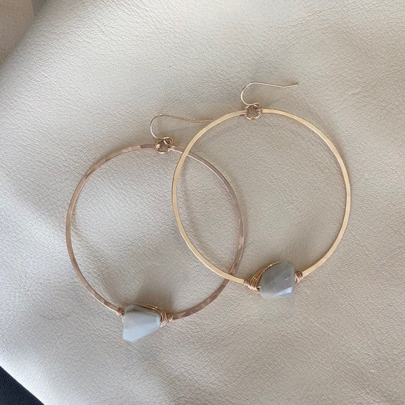 Orbit Hoop Earrings with Pale Grey Moonstone