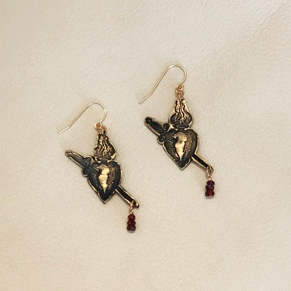 Flaming Heart Earrings with garnet