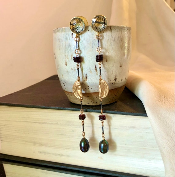 Curio Earrings in tourmalinated quartz, garnet, bronze, sterling and pearl