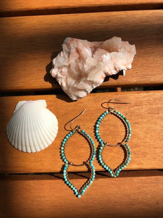 Bronze and Gemstone Goddess Earrings