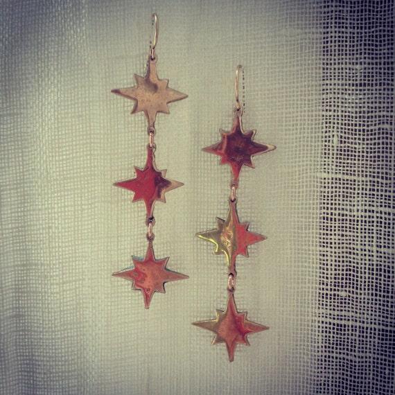 Falling Star Earrings in Bronze