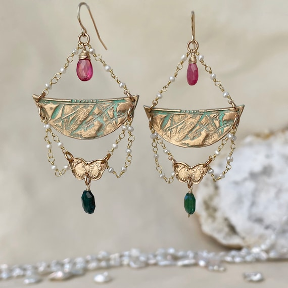 Papillon Earrings with green tourmaline and pink sapphire