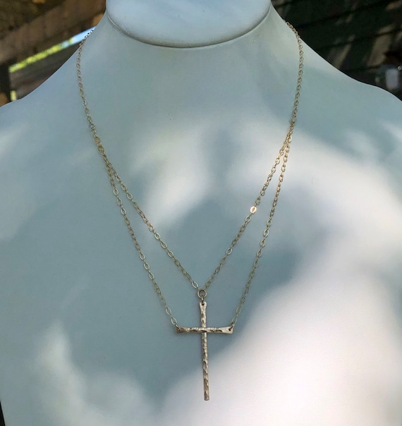 "Original ""Be Still""™ two-piece Cross Necklace in Gold and bronze"