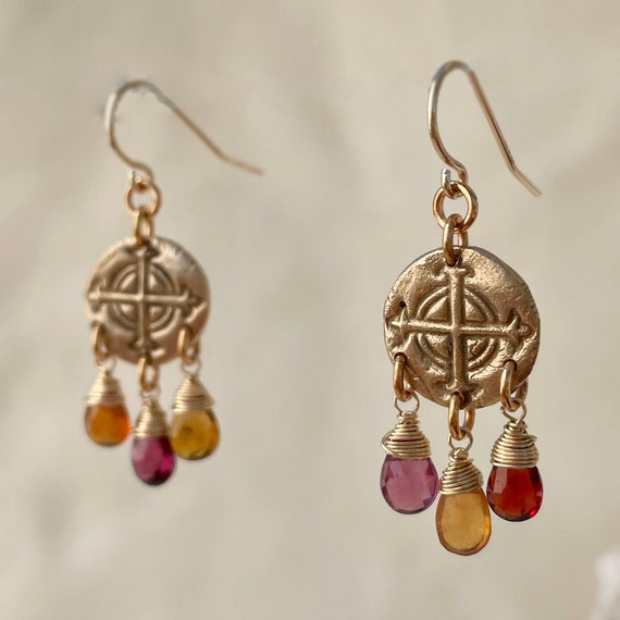 Umber chandelier Earrings with tundra sapphire