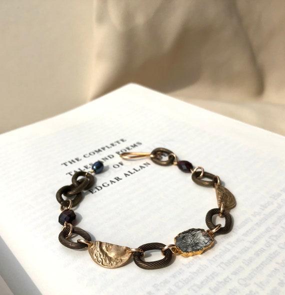 Curio Bracelet in tourmalinated quartz, garnet, bronze and pearl