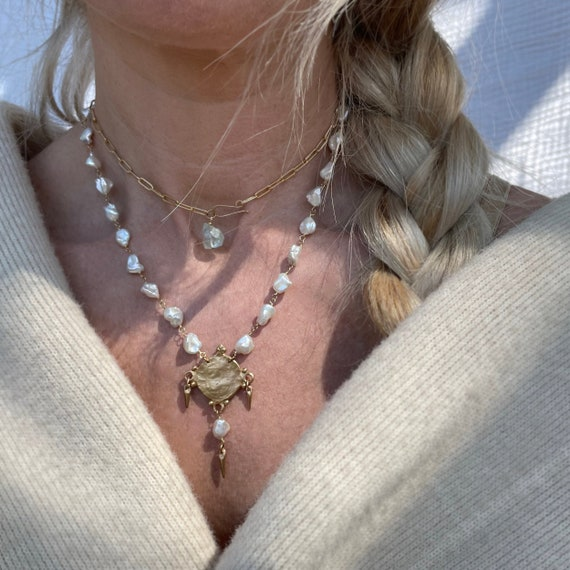 Thalassa Doubling Necklace with Aquamarine and Pearl