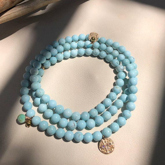 Midsummer Mala Necklace with Turquoise and bronze accents